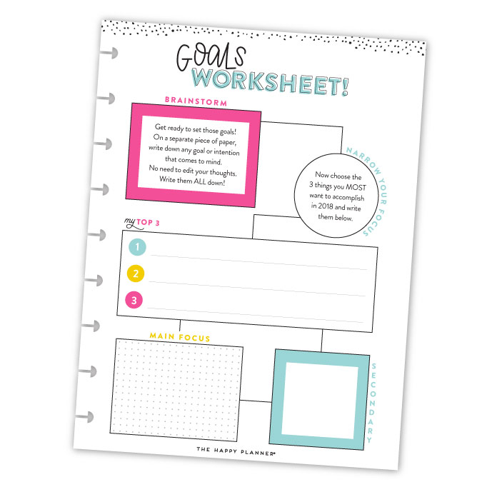 Goal Getter 2018 FREE Printable GOALS Worksheet me my BIG – Goals Worksheet