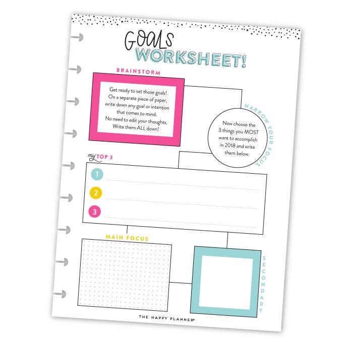 Goal Getter 2018 Free Printable Goals Worksheet Me My Big Ideas