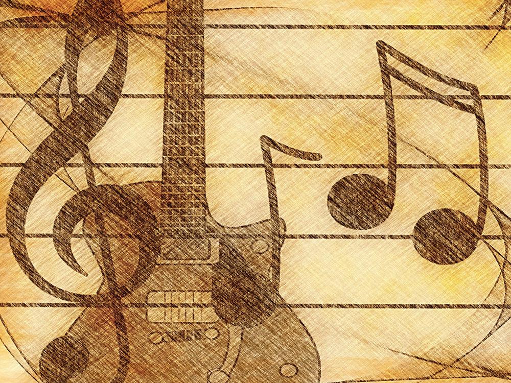 Ilustración gratis de guitarra y notas musicales