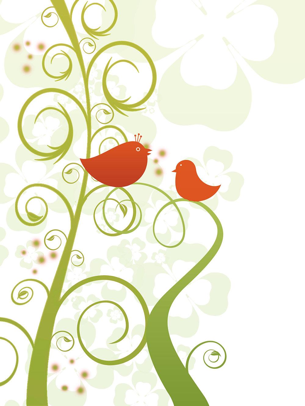 Ilustración gratis de fondo de planta y aves