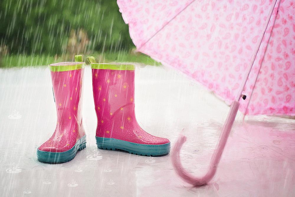 Foto gratis de botas y paraguas en lluvia