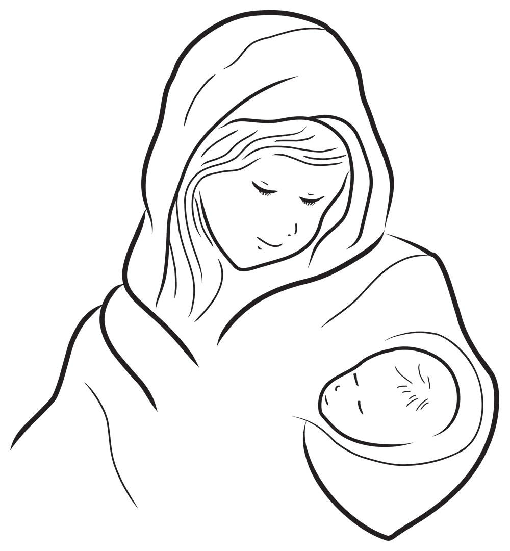 Ilustración gratis de María y el Bebé Jesús