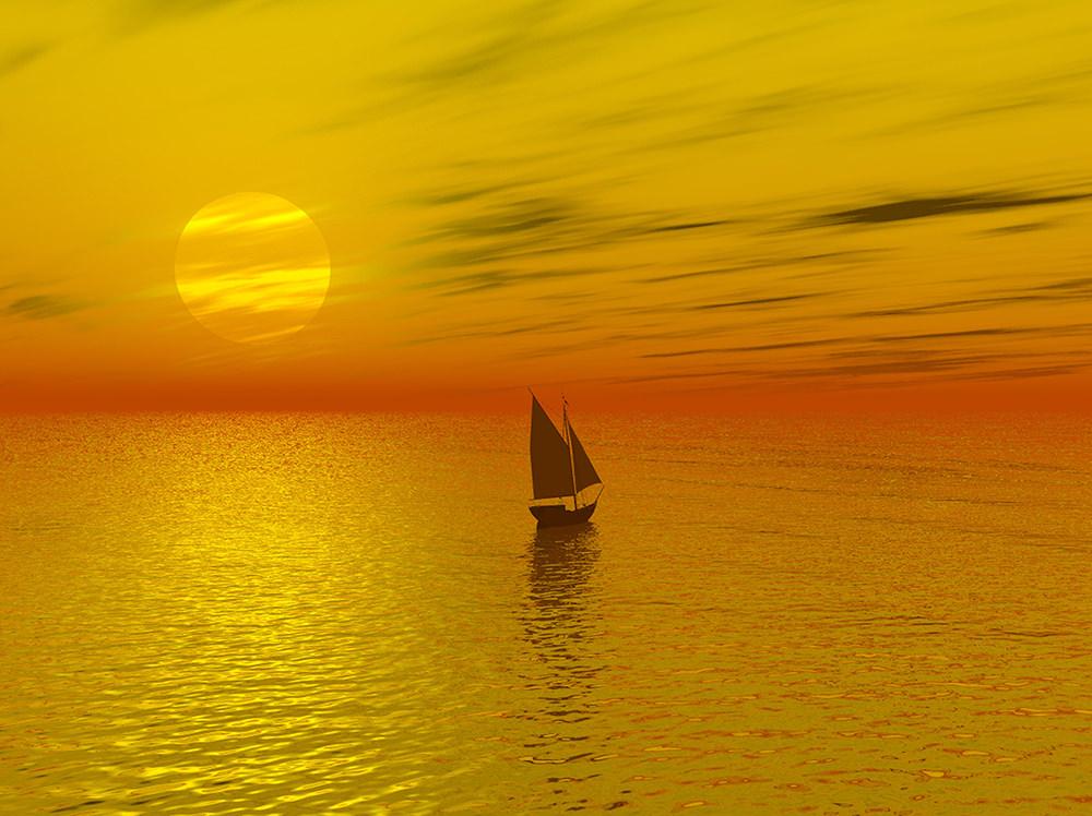 Foto gratis de ocaso y bote en mar