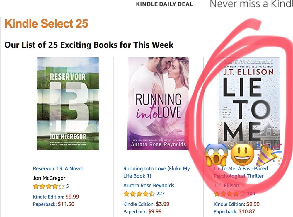 LIE TO ME is an Amazon Kindle Select 25!