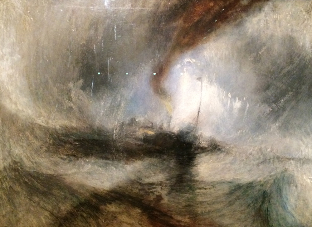Snow Storm Steam Boat off a Harbour's Mouth making Signals in Shallow Water and going by the Lead. The Author was in this Storm on the Night the Arile left Harwich Oil on canvas: exhibited 1842