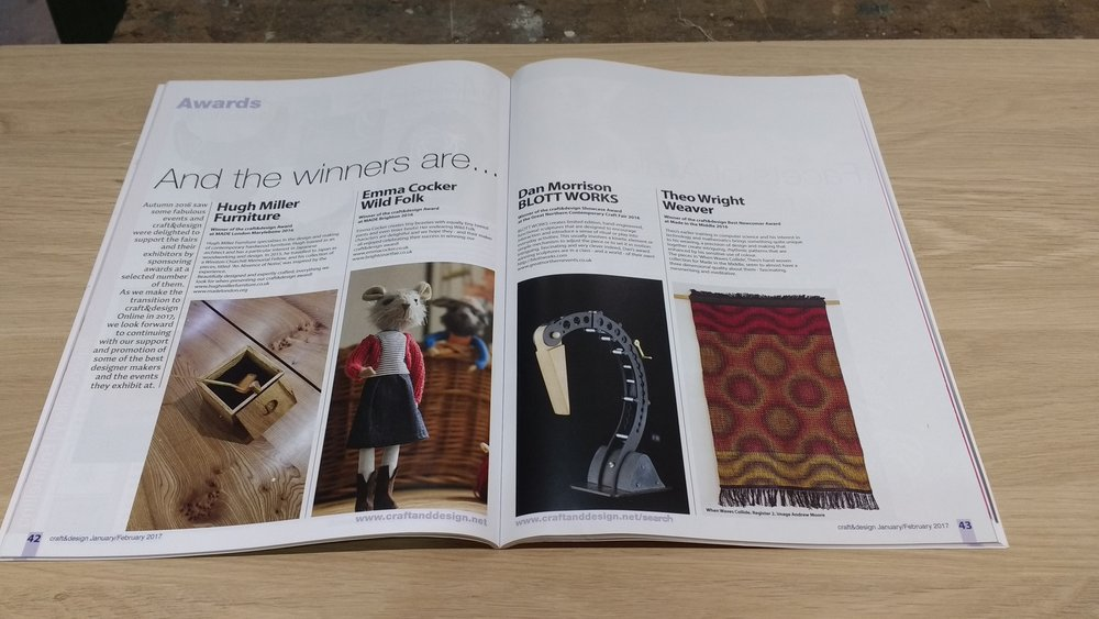 Award announcements in Jan/Feb issue of craft&design magazine