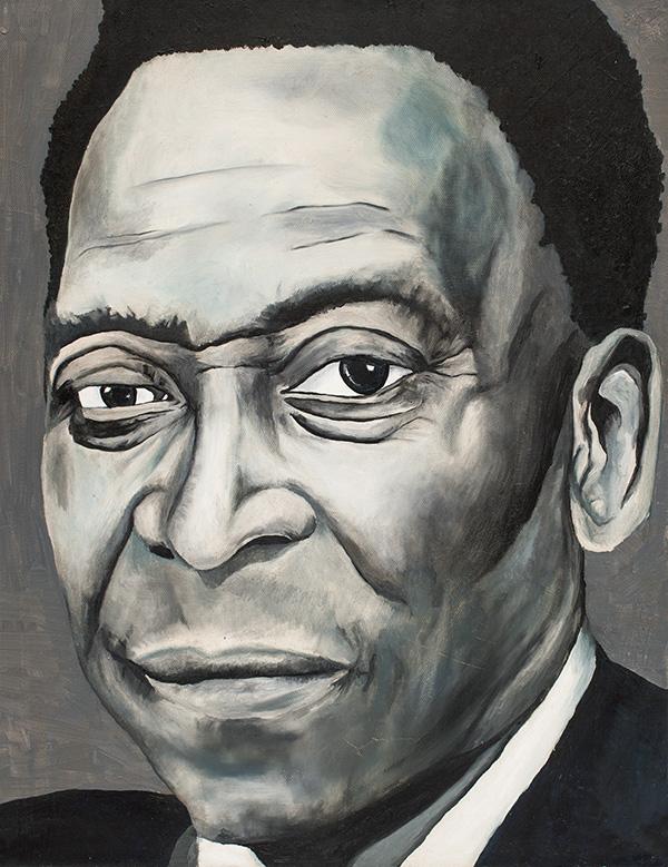 """Edson Arantes do Nascimento (Pelé). Oil on canvas, 16"""" x 20"""". Montreal, 2014byGeneviève Héroux"""