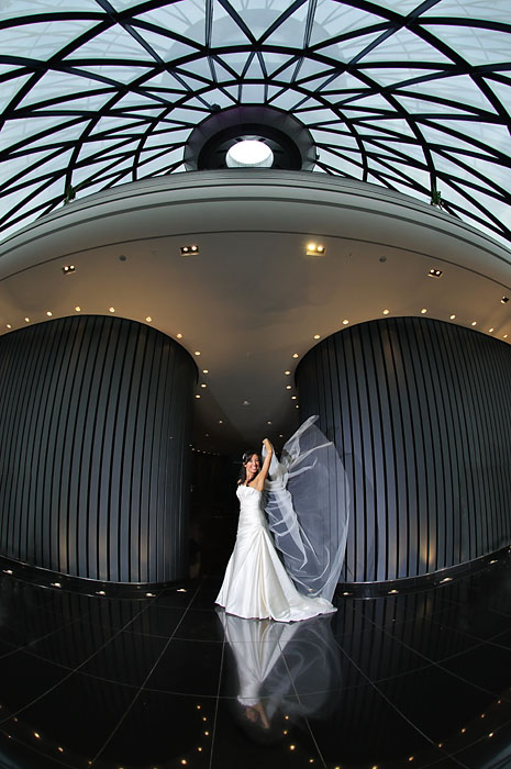 Bridal portrait, The Gherkin, London wedding photographer, fish eye lens.jpg