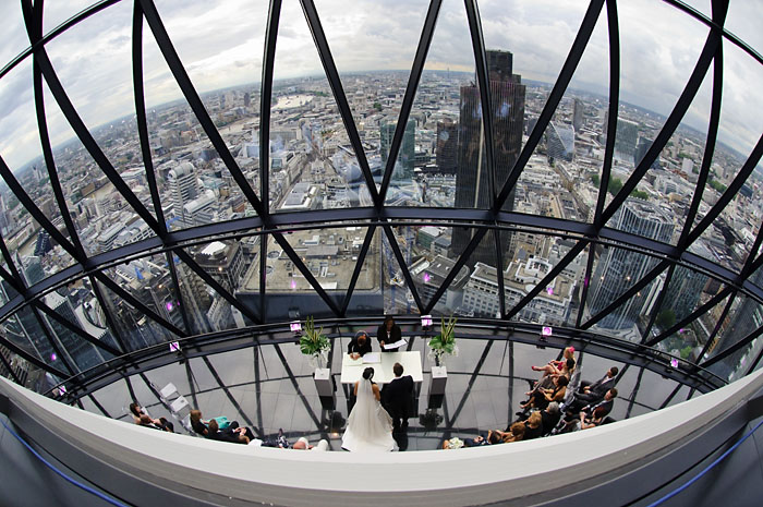 London wedding photographer, The Gherkin, wedding photography, fish eye lens.jpg