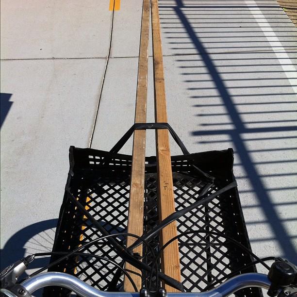 24 combined feet of lumber via bike. (Taken with Instagram)