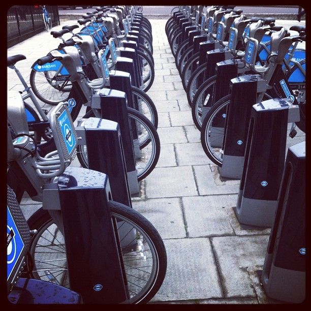 Public cycle hire program in London. Good idea! (Taken with Instagram)