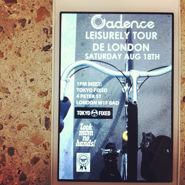 Group ride tomorrow in London. Meeting at Tokyo Fixed @ 1pm (Taken with Instagram)