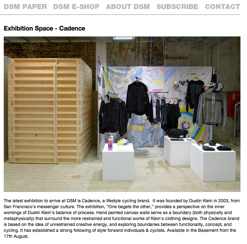 "Dover Street Market Press release for exhibition ""One Begets the Other"" by Dklein"