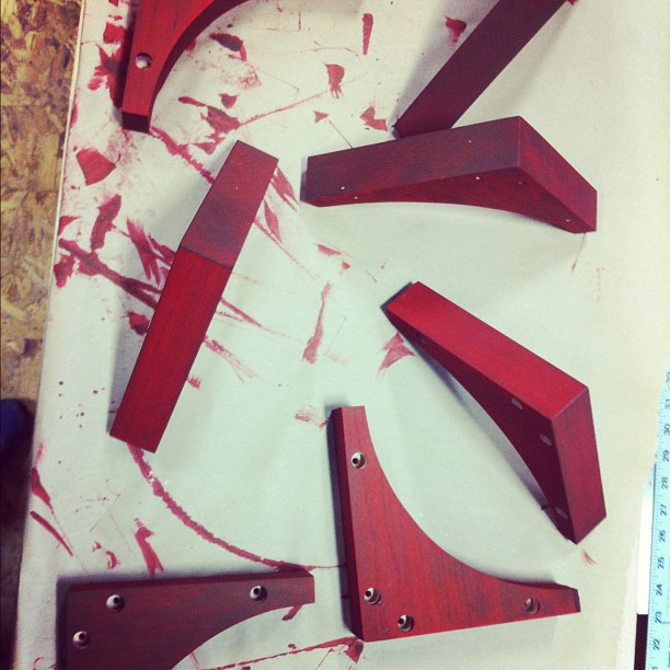 Cherry wood for the supports(dyed red).