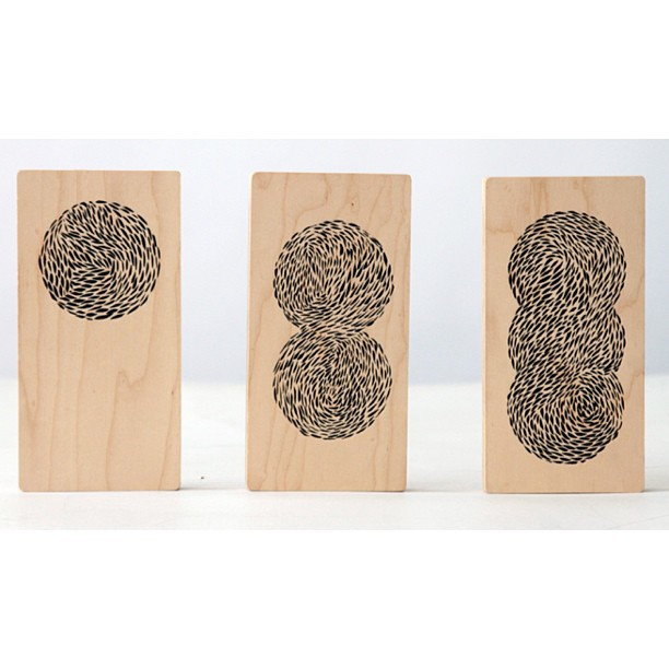 "Patterned in circumference meditation.   Set of 3   Ink on Birch  3 7/8"" x 7 3/4""   Now available in the dklein.co shop."