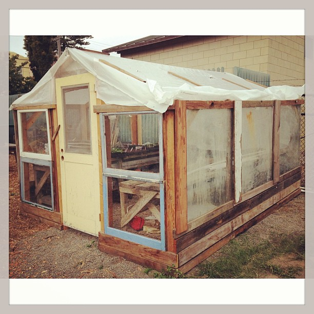 To this. Saturday #buildingday more glass on the #soga greenhouse.