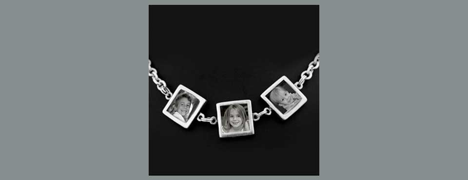 NK-017 Double Sided photo square necklace