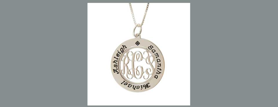 MP-005 Sterling silver mother's monogram pendant