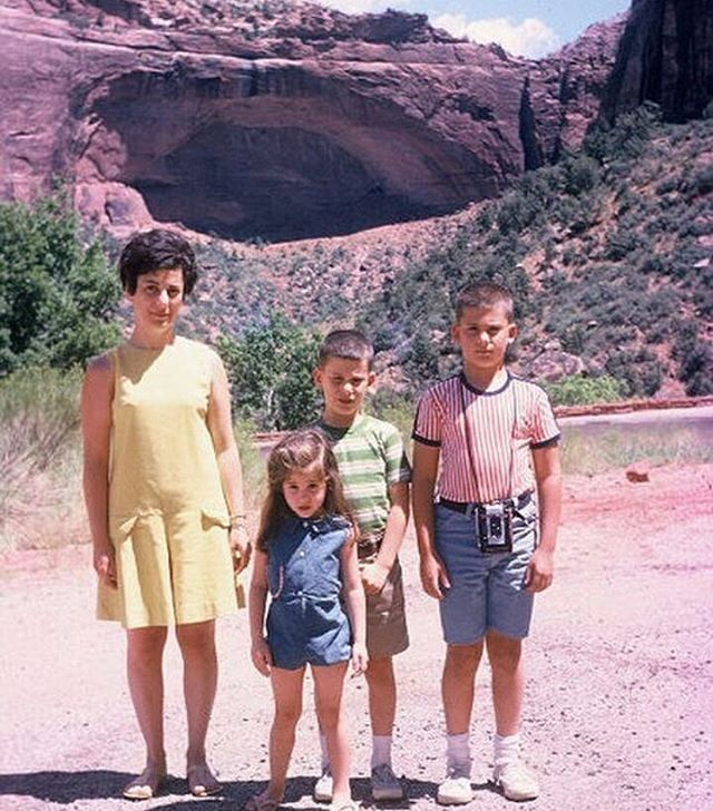 "Thinking about visiting a national park this summer? Today's photo comes from @auroraleighroe of her family at Zion National Park in 1967. ""Driving from Syracuse University to Long Beach, CA. No air conditioning in car, on the way to an army assignment in Hawaii. All three kids were sick, in turn, with the stomach flu. Stephen at Mormon tabernacle, David that evening, and Susan the next morning in the car...her favorite pillow abandoned along the road."" #mystoryhouse #savefamilyphotos #zionnationalpark #nationalpark #oldfamilyphotos #roadtrip #findyourpark"