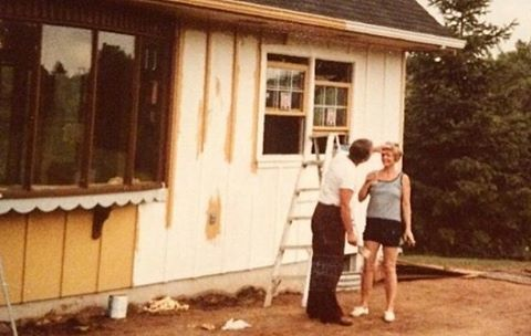 "Stories and photos like this one from @the_people_tree remind us why preserving family memories is so important; ""My grandparents painting their new office. It was located on their property and connected to their house by a slate and pebble pathway...I lost my grandmother when I was a kid so finding an adorable candid moment like this on film is so wonderful. Seeing the process makes me appreciate all the little details even more, knowing they purposely placed every rock and tree"". #mystoryhouse #savefamilyphotos #familyphoto"