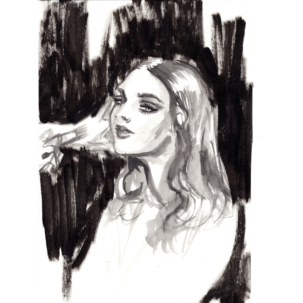 Backstage application watercolor fashion illustration by Cat Novak