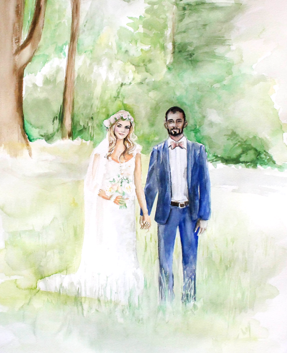 Watercolor Wedding Portrait Lake Tahoe by CatClaire