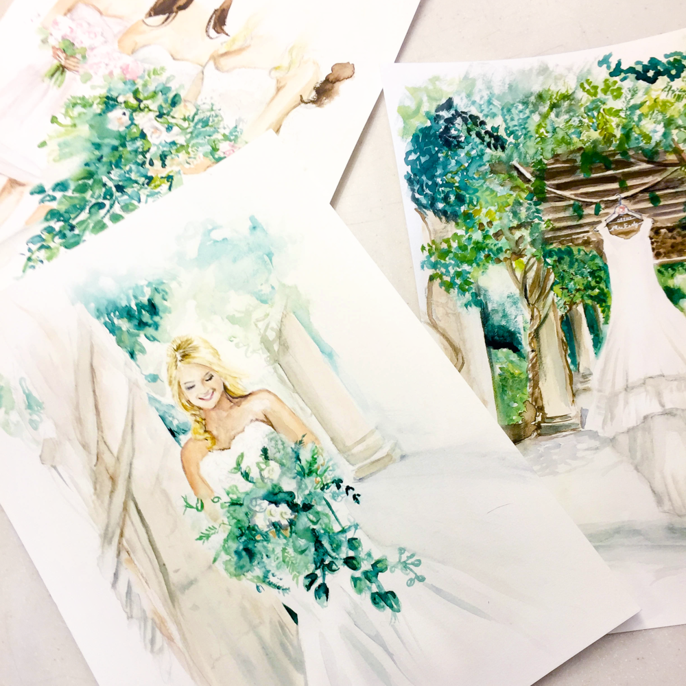 Custom bridal bundle: Four watercolor illustrations featuring the bride, bridal party, shoes, and dress