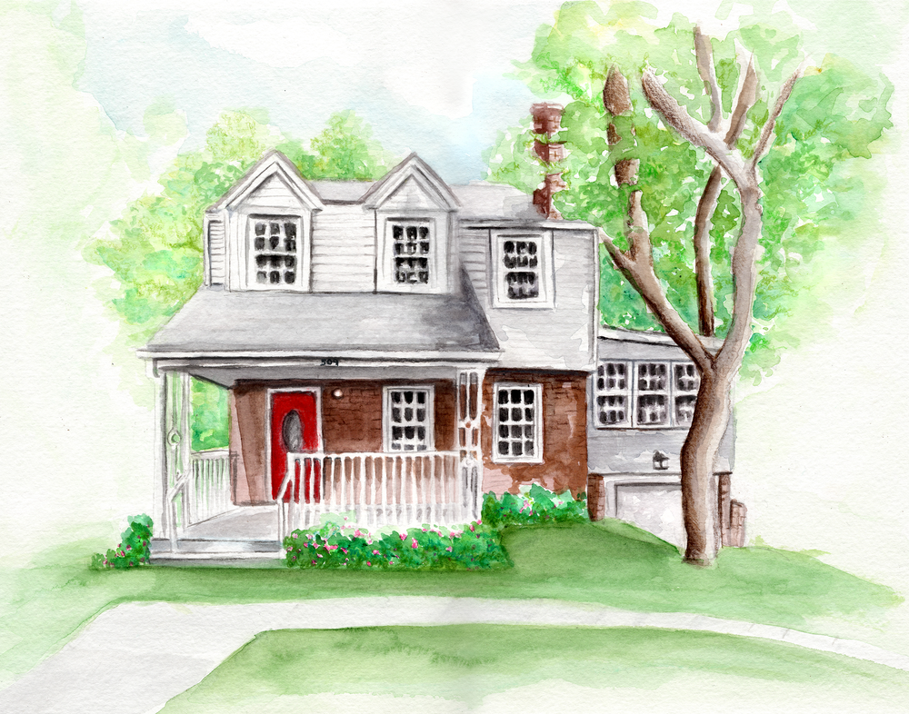 "Custom home watercolor, 14""x11"""