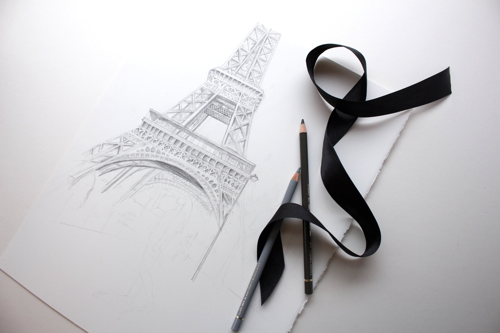 "11""x14"" illustration of Eiffel Tower"