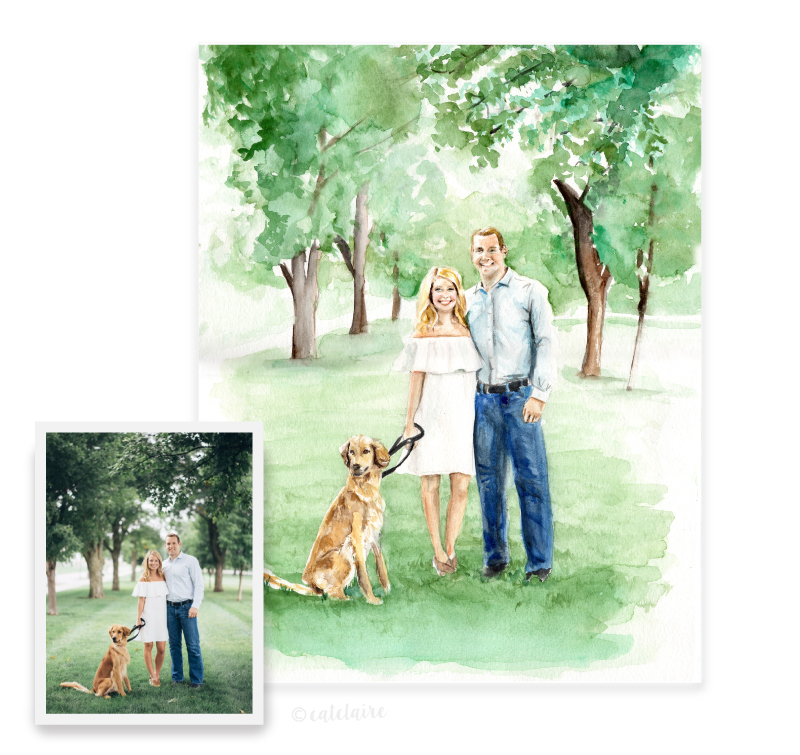 Full color watercolor engagement portrait