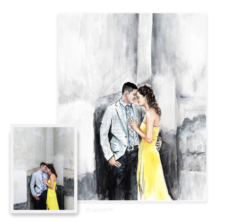 Full color watercolor wedding portrait
