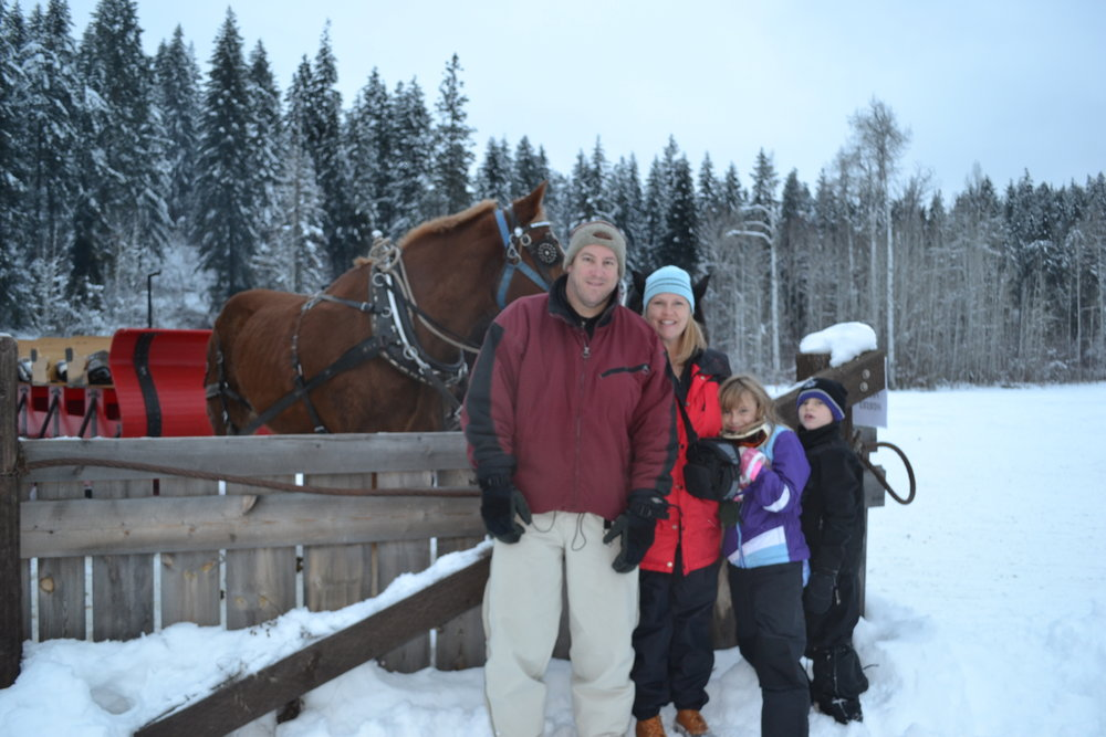 This is us --- in Washington State on New Years Day --- getting ready for a sleigh ride! (it was VERY cold)