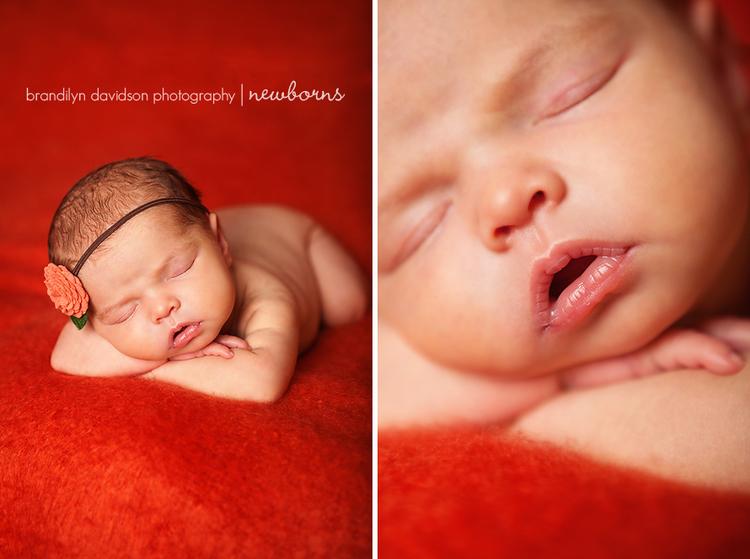 Sophia newborn on orange background by newborn photographer