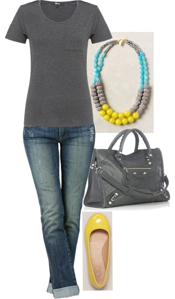 My yellow flats take me from Spring all the way through Fall. They are such a surprising , fresh twist on the bright oranges and reds that are typical of Autumn Fashion- I love the simplicity of pairing them with white and gray tees and distressed jeans.