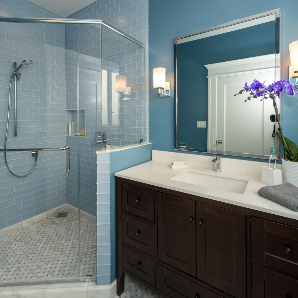 San Francisco Duboce Triangle Edwardian Master Bath NARI Members involved in this project include     General Contractor: Jeff King & Company     Vanities & Plumbing Fixtures: Jack London Kitchen and Bath Gallery     Shower Enclosure: California Shower Doors     Photography: Treve Johnson Photography