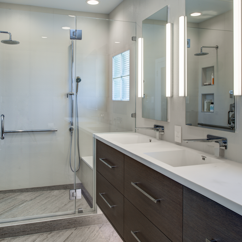 Berkeley Thousand Oaks Modern Master Bathroom 2016 REMMIE Winner through the National Association of the Remodeling Industry (NARI)