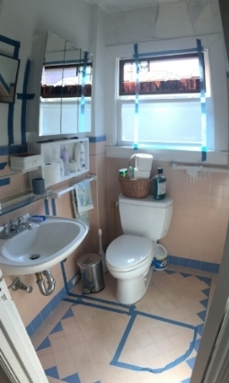 Painters Tape Showing New Bathroom Layout