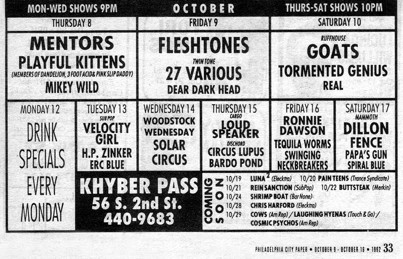 Khyber Pass, Philadelphia, PA 10/09/92