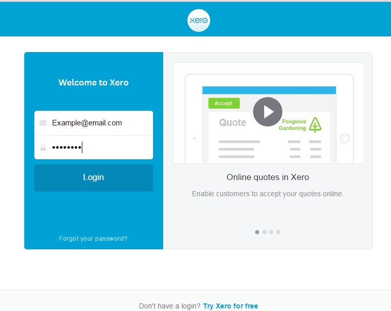 Don't ever click  Try Xero for Free, please create a login from the invitation we send you.