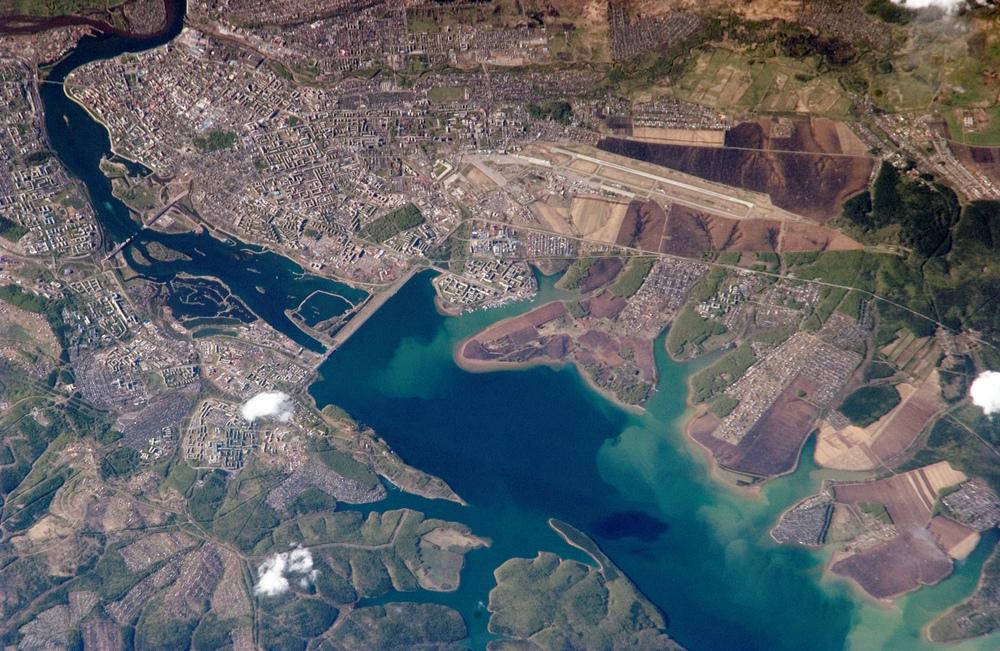 NASA;Irkutsk Dam on the lake'ssoutheast outlet, theAngara River