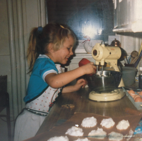 The author baking at age 6.