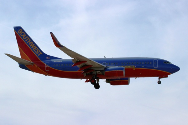 "The only ""special"" to arrive this morning was this Southwest 737-700 with a ""Free Bags Fly Here"" arrow."