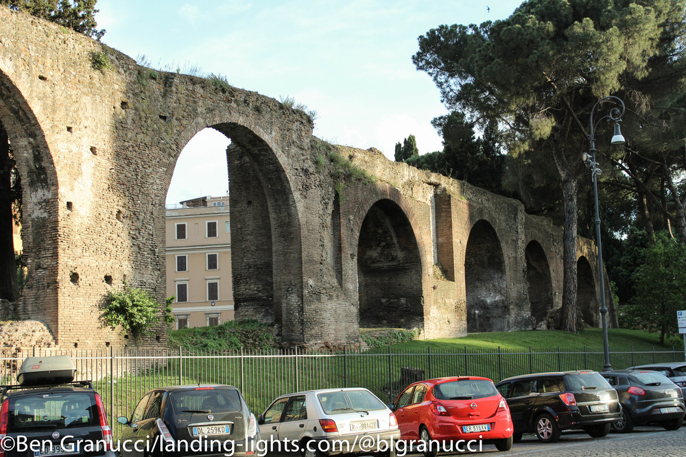 The ruins of the Aqueduct across the street.