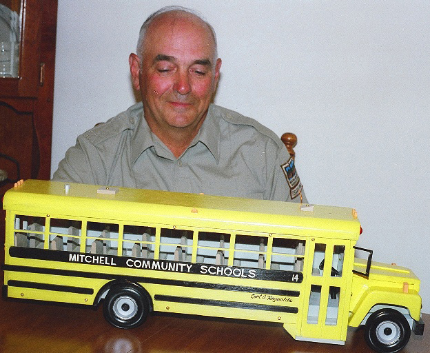 Employee, Carl Reynolds, created a scale model of a Carpenter bus.