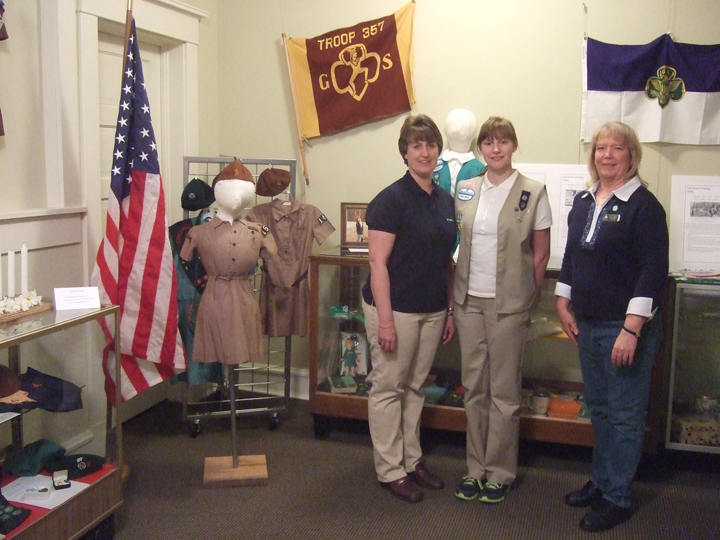 (Left to right) Heidi Werley, her daughter, girl scout Sarah Werley,  troop leader, Becky Mundy.