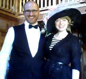 Previous director, Anna Westfall, and her husband, Aaron, in costume for a Titanic event during the World of Discovery Saturday children's program.