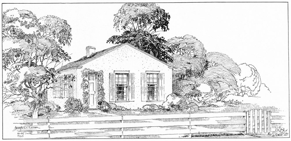 1849—The first house George and Mary Thornton owned was located on Locust a.k.a. 14th Street on Lots 46-47 in the original plat of Bedford. Four children were born during the ten years they lived here. The sketch is by Joseph Cezar.