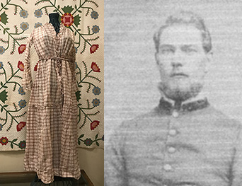 Mrs. Isom Burton's 1850 cotton mull dress (above at left) is currently (December 2018) on display in the gallery of the Lawrence County Museum of History. Isom and his brother, Hardin (Jr.), were Spice Valley Township teachers. The Burton families lived in Spice Valley and Marion townships. Eli Maxwell Burton (at right), was one of Spice Valley Township's Civil War soldiers.