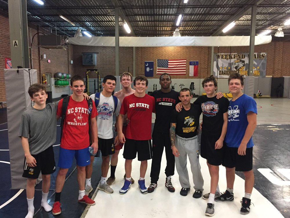 NC STATE wrestlers and camp Counselors, NCAA All-american Tariq Wilson along with AJ Leitten