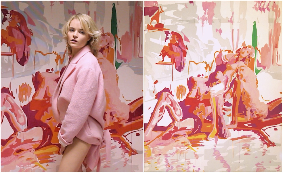 """anaïs is a venus for the 21st century. she represents a new, radical vision of the muse in contemporary art:this painting by lans king, """"Anaïs one of the three"""", 2016 -features his muse the artist  Anaïs de Contades .this work combines algorithms, digital printing with manual painting techniques."""